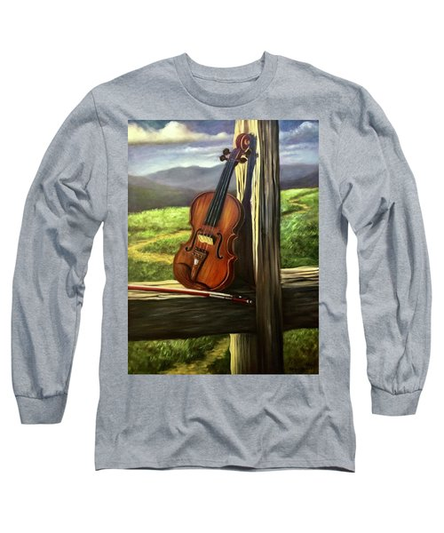 Long Sleeve T-Shirt featuring the painting Violin by Randol Burns