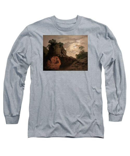 Long Sleeve T-Shirt featuring the painting Virgil's Tomb By Moonlight With Silius Italicus Declaiming by Joseph Wright of Derby