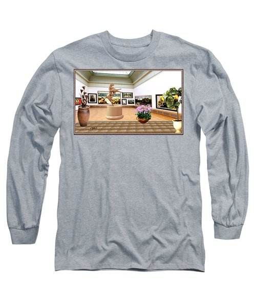 Virtual Exhibition - A Modern Horse Statue Long Sleeve T-Shirt by Pemaro