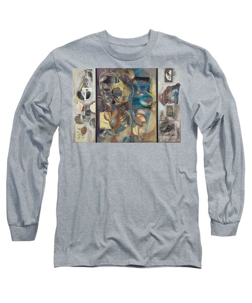 Long Sleeve T-Shirt featuring the painting Visible Traces by Kerryn Madsen-Pietsch