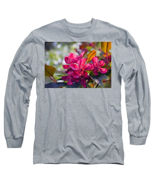 Vivid Pink Flowers Long Sleeve T-Shirt by Tina M Wenger