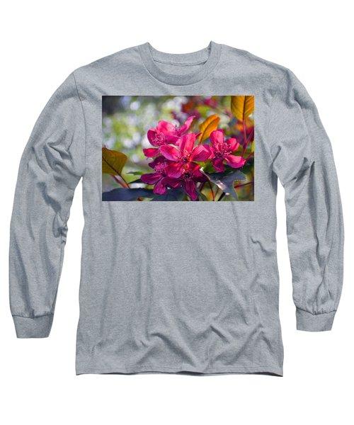Vivid Pink Flowers Long Sleeve T-Shirt