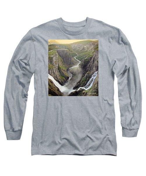 Voringsfossen Waterfall And Canyon Long Sleeve T-Shirt by IPics Photography