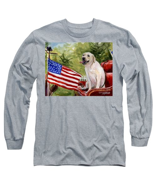 Long Sleeve T-Shirt featuring the painting Wag The Flag by Molly Poole