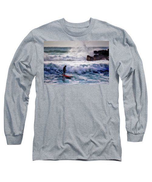 Long Sleeve T-Shirt featuring the photograph Waimea Bay Surfer by Jim Albritton