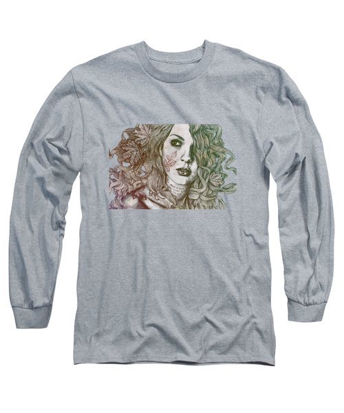 Wake - Autumn - Street Art Woman With Maple Leaves Tattoo Long Sleeve T-Shirt