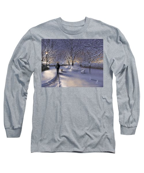 Long Sleeve T-Shirt featuring the painting Walking In The Snow by Veronica Minozzi