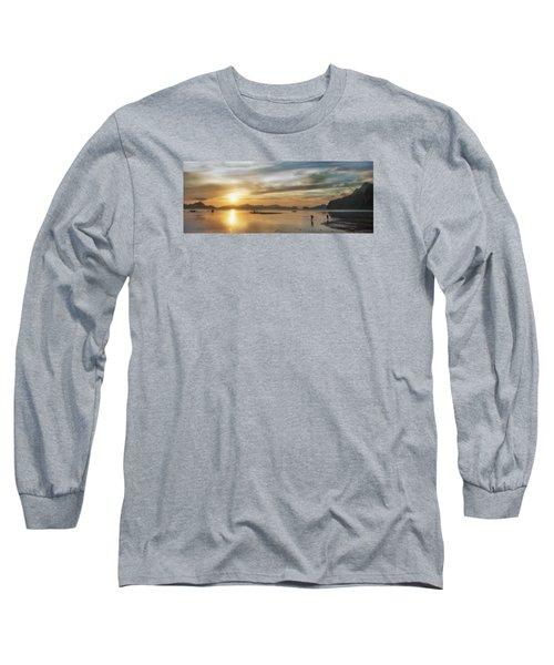 Walking In The Sun Long Sleeve T-Shirt by John Swartz