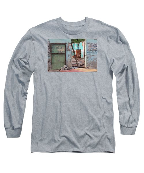 Wall, Door, Open Space In Kochi Long Sleeve T-Shirt by Jennifer Mazzucco