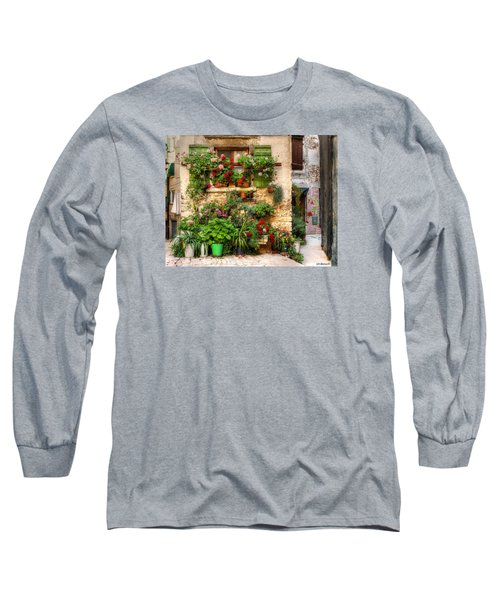 Wall Of Flowers Long Sleeve T-Shirt by Uri Baruch