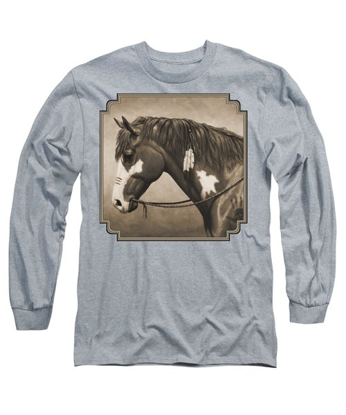 War Horse Aged Photo Fx Long Sleeve T-Shirt by Crista Forest
