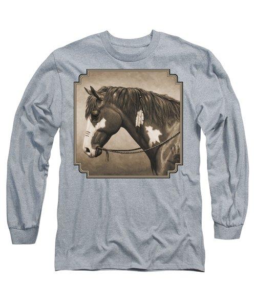 War Horse Aged Photo Fx Long Sleeve T-Shirt