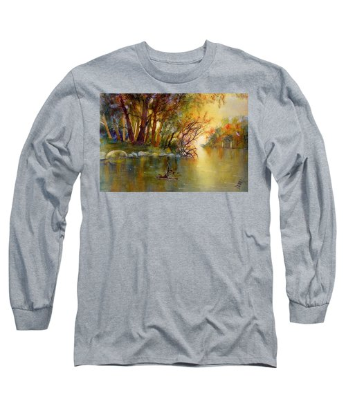 Warm Autumn Light Over The River Rhein Long Sleeve T-Shirt