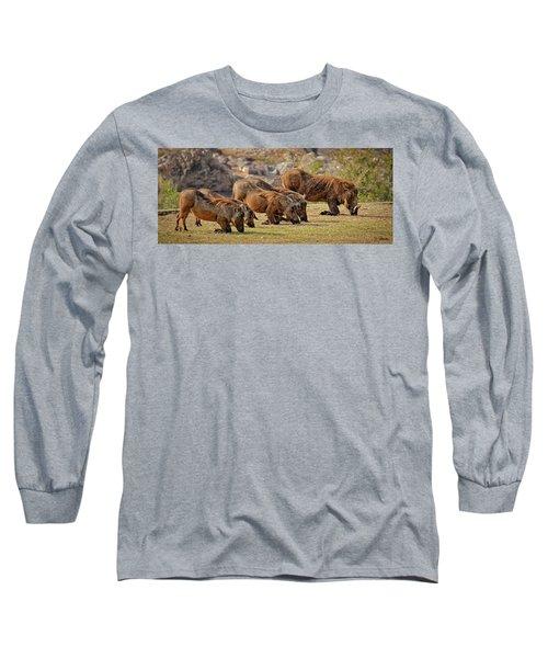 Warthogs Doing Lunch Long Sleeve T-Shirt by Joe Bonita