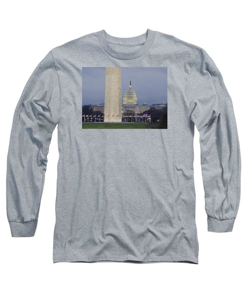 Washington Monument And United States Capitol Buildings - Washington Dc Long Sleeve T-Shirt by Brendan Reals