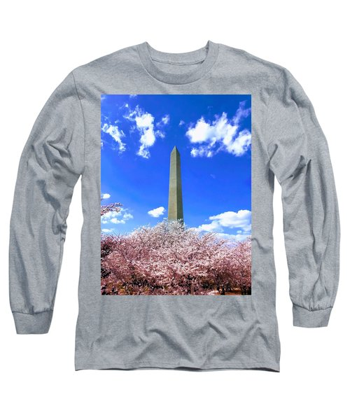 Washington Monument Cherry Blossoms Long Sleeve T-Shirt
