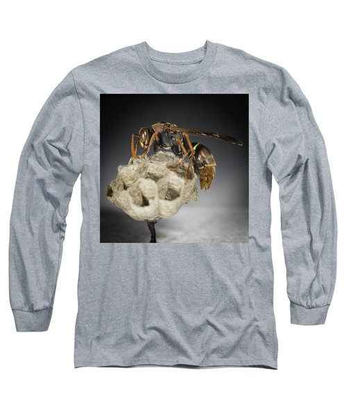 Long Sleeve T-Shirt featuring the photograph Wasp On A Nest by Chris Cousins