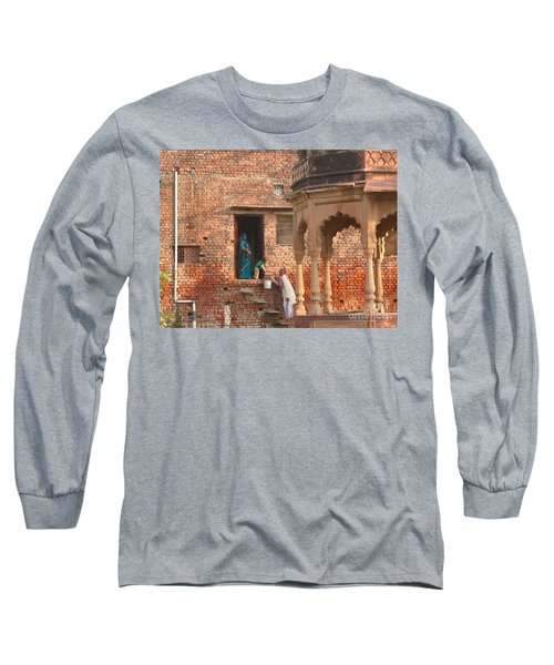 Long Sleeve T-Shirt featuring the photograph Water Delivery In Vrindavan by Jean luc Comperat