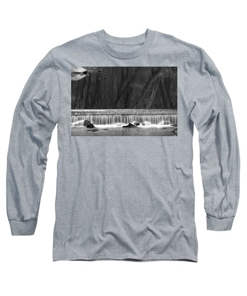 Water Fall In Black And White Long Sleeve T-Shirt by Dorin Adrian Berbier