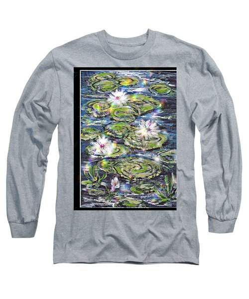 Long Sleeve T-Shirt featuring the painting Water Lilies And Rainbows by Desline Vitto