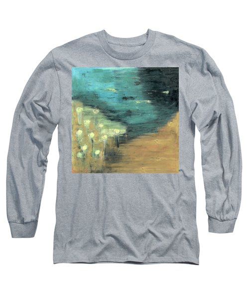 Long Sleeve T-Shirt featuring the painting Water Lilies At The Pond by Michal Mitak Mahgerefteh