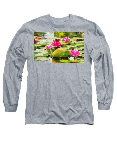 Water Lilies Long Sleeve T-Shirt by Maciek Froncisz