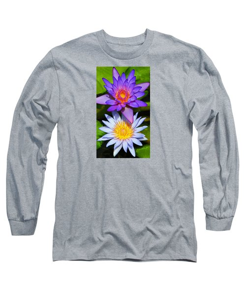 Water Lily Blossoms Long Sleeve T-Shirt by Kerri Ligatich