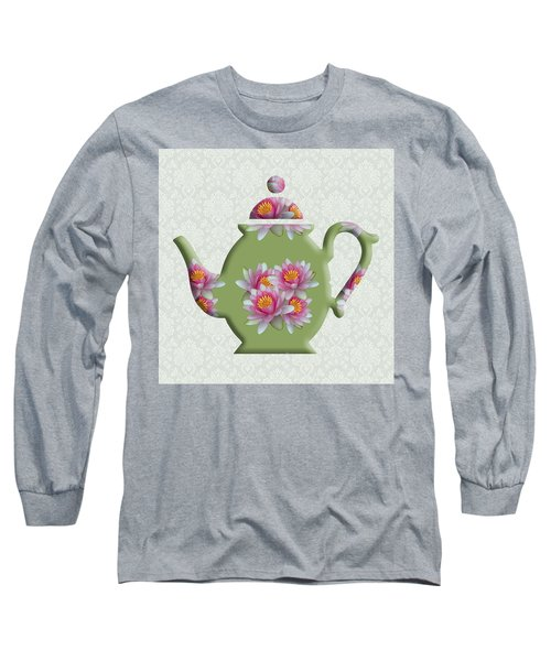 Water Lily Pattern Teapot Long Sleeve T-Shirt