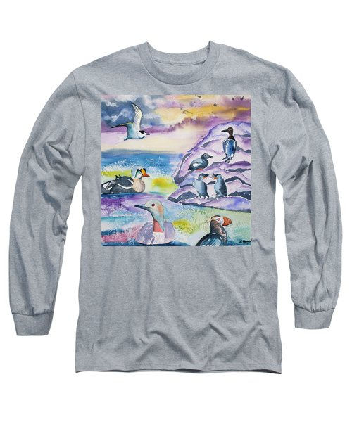 Watercolor - Alaska Seabird Gathering Long Sleeve T-Shirt