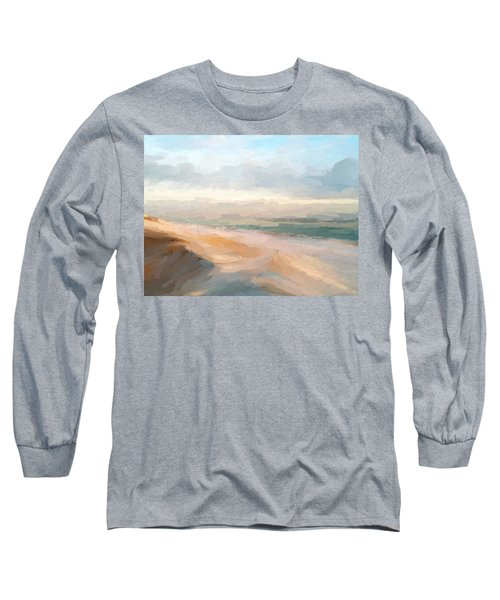 Watercolor Beach Abstract Long Sleeve T-Shirt by Anthony Fishburne