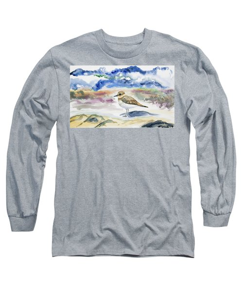 Watercolor - Double-banded Plover On The Beach Long Sleeve T-Shirt