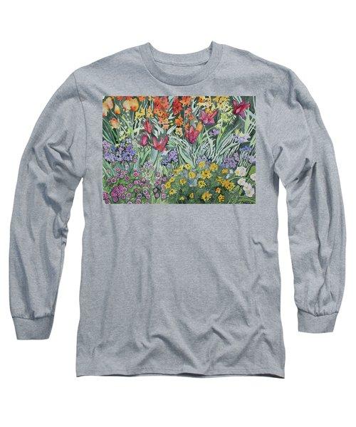 Watercolor - Empress Hotel Gardens Long Sleeve T-Shirt