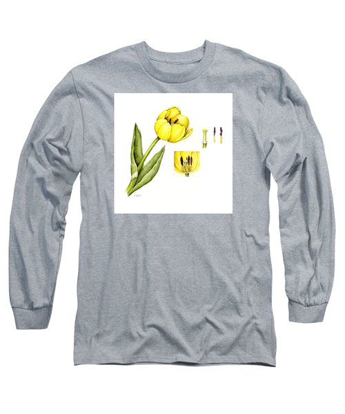 Watercolor Flower Yellow Tulip Long Sleeve T-Shirt