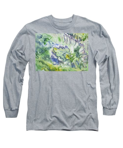 Watercolor - Leaves And Textures Of Nature Long Sleeve T-Shirt