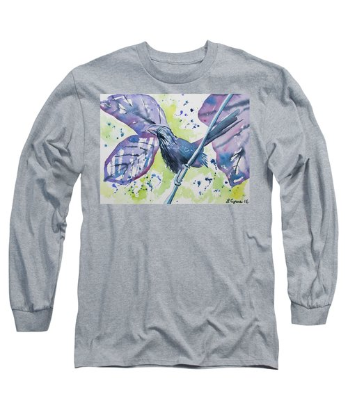 Watercolor - Smooth-billed Ani Long Sleeve T-Shirt