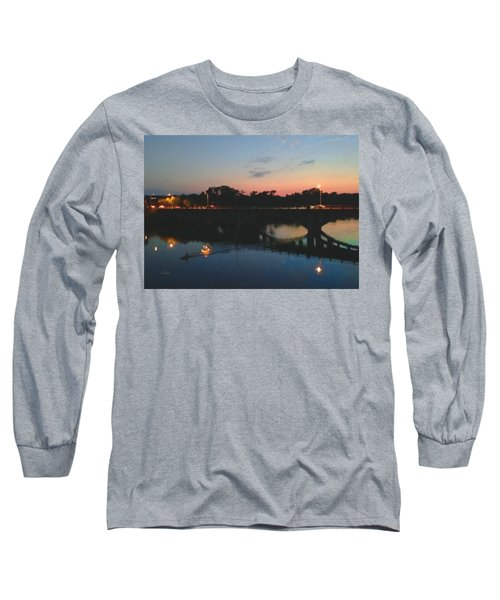 Watercolor Sunset Over Lamar Street Bridge Austin Texas Long Sleeve T-Shirt