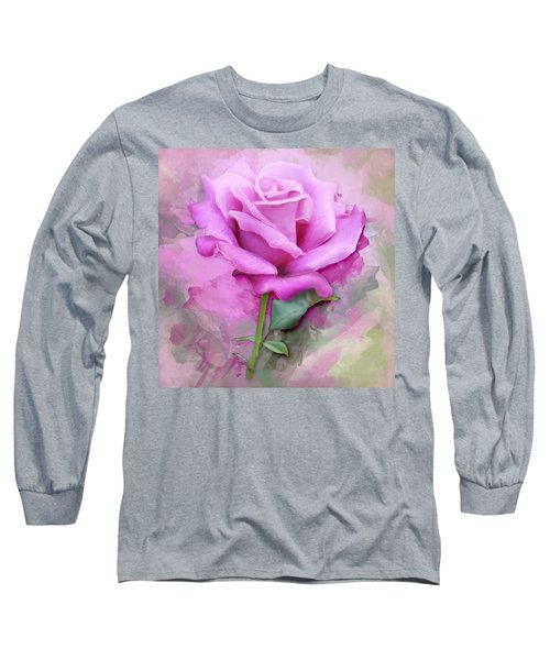 Watercolour Pastel Lilac Rose Long Sleeve T-Shirt