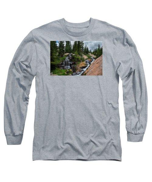 Waterfall Above Upper Slate Lake Long Sleeve T-Shirt by Michael J Bauer