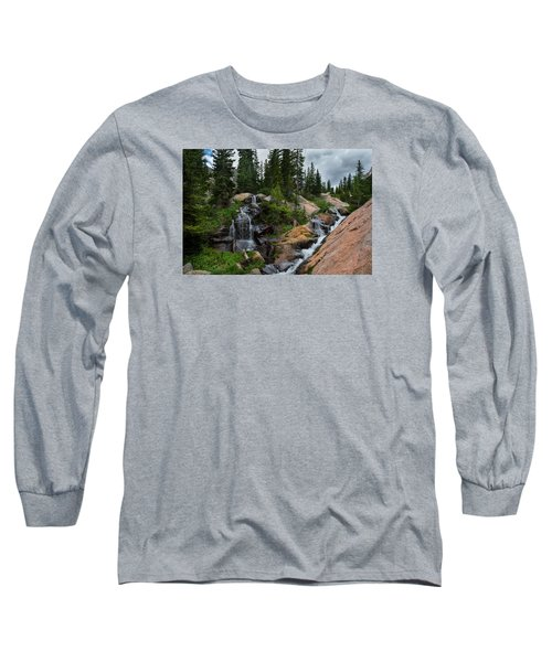 Waterfall Above Upper Slate Lake Long Sleeve T-Shirt
