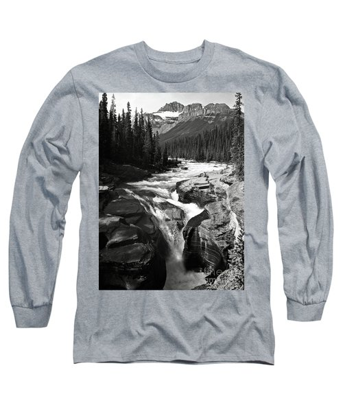 Long Sleeve T-Shirt featuring the photograph Waterfall In Banff National Park Bw by RicardMN Photography