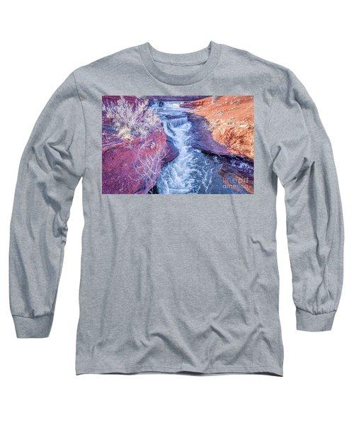 waterfalls at Colorado foothills aerial view Long Sleeve T-Shirt