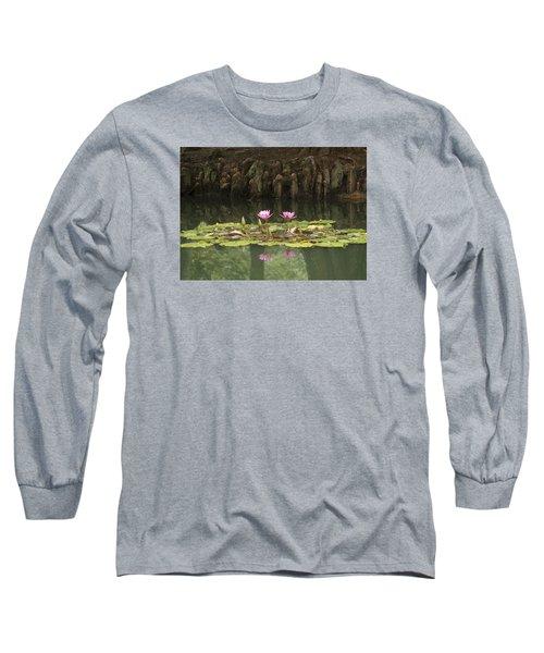 Waterlilies And Cyprus Knees Long Sleeve T-Shirt by Linda Geiger