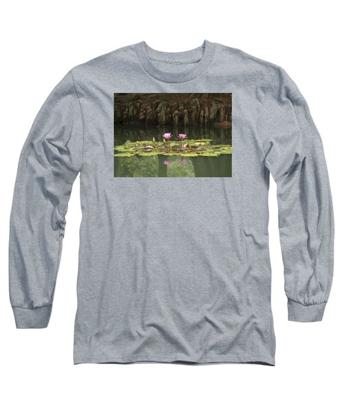 Waterlilies And Cyprus Knees Long Sleeve T-Shirt
