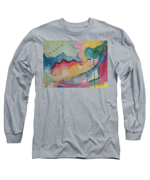 Long Sleeve T-Shirt featuring the digital art Watery Abstract by Susan Stone
