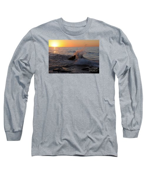 Long Sleeve T-Shirt featuring the photograph Waves At Sunrise by Sandra Updyke
