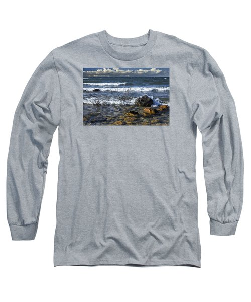 Waves Crashing Ashore At Northport Point On Lake Michigan Long Sleeve T-Shirt