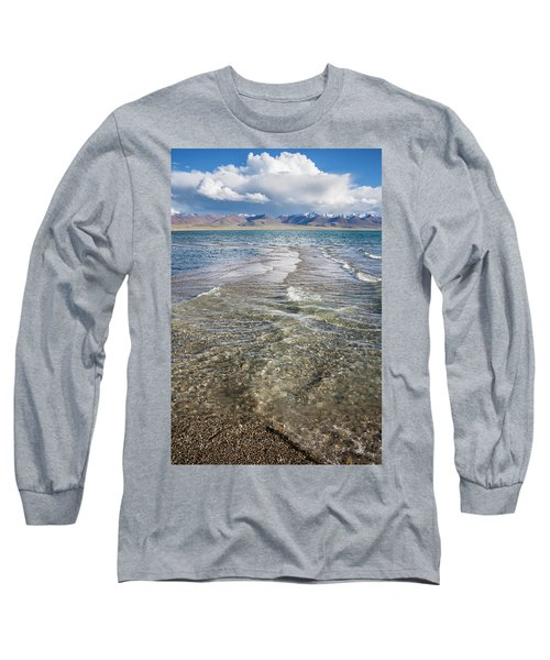 Long Sleeve T-Shirt featuring the photograph Waves Of Namtso, Tibet, 2007 by Hitendra SINKAR