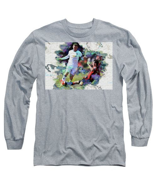 Wayne Rooney Street Art Long Sleeve T-Shirt by Don Kuing