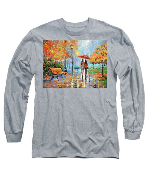 Long Sleeve T-Shirt featuring the painting We Met In Park          by Dmitry Spiros