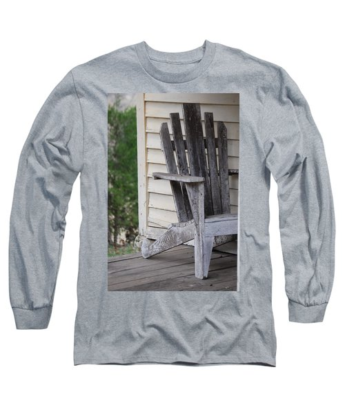 Long Sleeve T-Shirt featuring the photograph Weathered Porch Chair by Debbie Karnes
